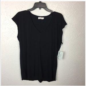 Frame Denim Blouse Cap Sleeve V Neck Black NEW